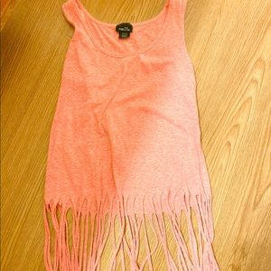 Pink fringed crop top